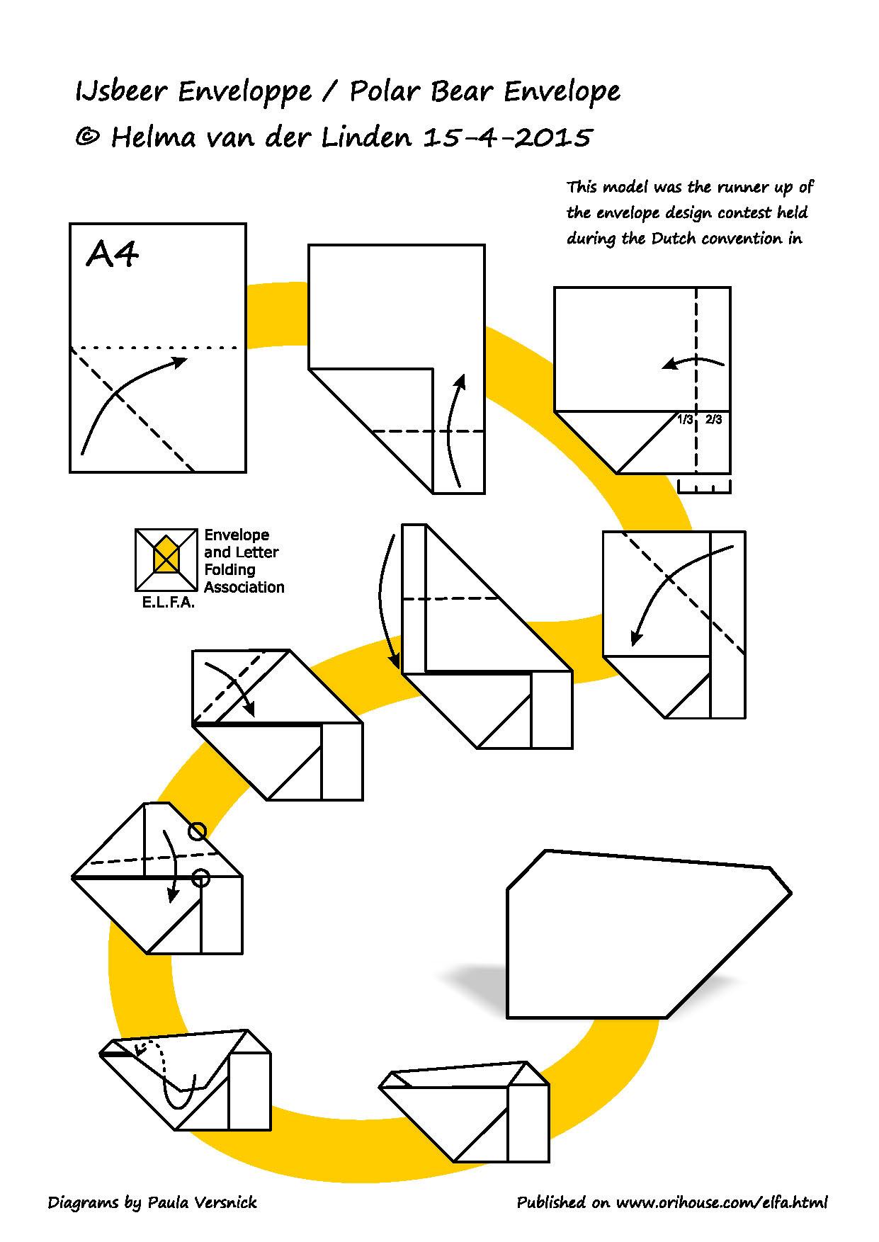 Paulas Orihouse Origami Bear Diagram Polar Envelope By Helma Van Der Linden Ijsbeer