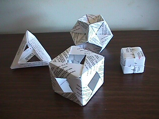 Left 6 Card Open Frame Tetrahedron Made With Francis Ows 60 Degree Unit Front Valerie Vanns 12 Cube Back Jennifers 30 Sonobe